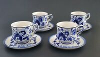 Delfts Blue Hand Painted Cups And Saucers Set Of Four Blue White Porcelain 165