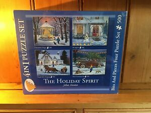 John Sloane Bits and Pieces-500 pieces-4 in 1 Puzzle Set-The Holiday Spirit NEW