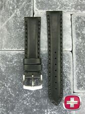 NEW 20mm SWISS ARMY WENGER Black Genuine Calf Leather Strap Watch Band 20