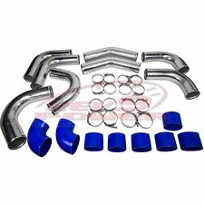"""4"""" Universal Aluminum Intercooler Turbo Piping pipe Kit+ Silicone+Clamp Blue"""