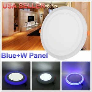 Dual Color White RGB LED Ceiling Light Fans Recessed Panel Downlight  USA SELLER