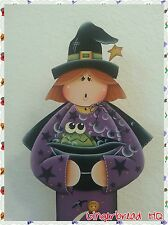 Hand Painted Wooden Standing Witch, Halloween, Frog, Porch Greeter, Pumpkin