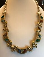 Vintage 1950s Gold Tone Multicoloured Stone Necklace
