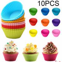 10 Stück Muffin Formen Silikon Cupcake Formen Wiederverwendbare Backformen