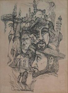 ARIE LAMDAN (1944-), Ink on Paper, Orthodox Jews, Jerusalem, Signed, Dated 1968