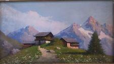Painting chalet in the mountain signed. Peinture chalet à la montagne signée