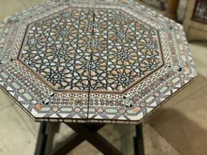 """Egyptian Handmade Wood End Table Inlaid Mother of Pearl (22"""")"""