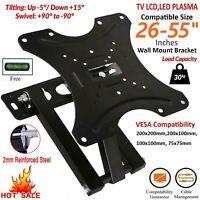 Full Motion TV Wall Mount Swivel Bracket Tilt 26 32 40 42 50 55 Inch LED LCD 3D