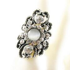 Ring Rhinestone silver Fashion gemstone White Silver adjustable flower One Size
