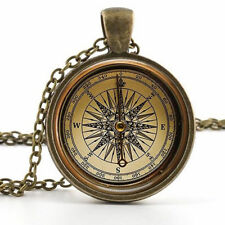 Old Compass Pendant Necklace - Vintage Antique Style Picture Jewelry Popular