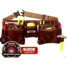 General Construction, Carpenter Leather Tool Apron (SUED)  With Belt, Brown