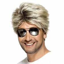 Mens George Wig 80s Michael Street Blonde Brown 1980s Wham Fancy Dress Stag Xmas