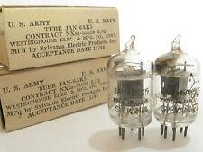 2 matched 1944 Sylvania JAN-6AK5 (5654,403B,6J1) tubes - Black Plate, [ ] Getter