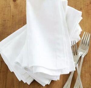100 X White Cotton Napkin Table Linen Dinner 100% Egyptian Hotel Wedding 300TC