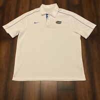 Nike Florida Gators Mens XL Dri Fit Golf White Polo Short Sleeve Football