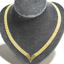 "Vintage Napier Monet Necklace Collar V Shape Gold Tone 17"" L"