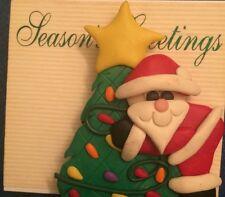Vtg Seasons Greetings Santa And Christmas Tree Brooch Pin Ugly Christmas Party