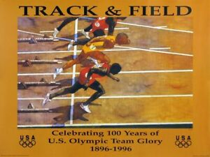 """1896 - 1996 Atlanta Track and Field  Olympic  Poster Size: 18"""" x 24"""" Mint."""