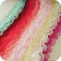 2yds Gauze Ruffled Trim Lotus Leaf Lace Pleated Elastic Ribbon Cuff 4.72'' Width