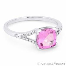 2.11 ct Cushion Cut Pink Lab-Made Sapphire & Diamond 14k White Gold Promise Ring
