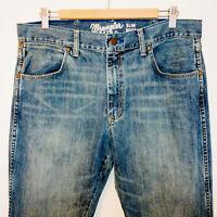 Wrangler Retro Men Size 34x36 Jeans Slim Boot Western Cowboy Blue EUC