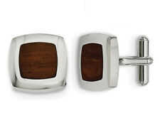 Mens Stainless Steel Wood Inlay Cuff Links