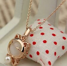 US-Gold Plated Cat Statement Necklace For Woman