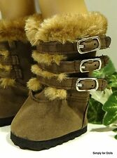 "BROWN Suede Fur-Trimmed PARKA DOLL BOOTS SHOES fit 18"" AMERICAN GIRL DOLL"