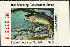 Wyoming #5 1988 État Canard Tampon Coupe Gorge Truite Par Clark Ostergaard