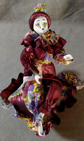 HARLEQUIN Porcelain Doll Mardi Gras Burgundy Dress Jester Clown Music Box