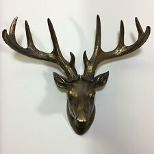 Large Deer Stag Head Wall Statue Hanging Ornament Bronze Antique Style 39408