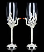 RORO Enameled and Jeweled Bohemian Crystal Lovely Swans Champagne Flute Glasses