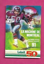 1991 WORLD LEAGUE MONTREAL MACHINE OFFICIAL POCKET SCHEDULE (INV# C4695)