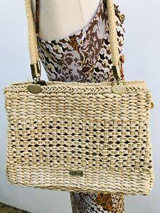 ITALIAN DESIGNER-ALMA TONUTTI Summer Tote Bag Woven Sisal with Rope Handle.