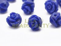 30pcs 8mm Flower Rose Synthetic Coral Loose Spacer Beads Findings Royal Blue