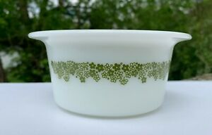 Olive green with white flower band Vintage pyrex bowl 2-12 qt.