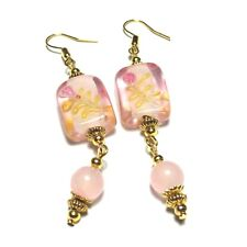 Long Glass & Rose Quartz Bead Earrings Pierced Hooks Tibetan Vintage Gold Style