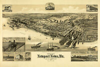 Map of Newport News Virginia Antique Map; Pictorial or Birdseye Map 1891