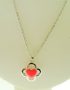 Marie Claire Coral Enamel Clover Heart Love Pendant and Necklace 18 Inches