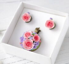 Flower wedding pendant & EARRINGS SET HANDCRAFTED Fashion bridal polymer clay