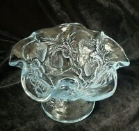 Fenton Dish Fluted Footed Candy Bowl Inverted Strawberry Light Blue Mark No trim