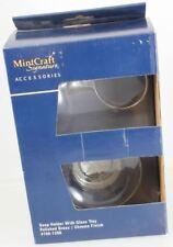 MintCraft Chrome & Polished Brass Wall Mnt Soap Dish Holder + Clear Glass Dish