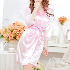 Hot Women Sexy Faux Satin Lace Silk Underwear Lingerie Nightdress Sleepwear Robe