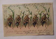 """""""Pfingsten, Personifizierte Maikäfer, Maiglöckchen"""" 1906, Prägekarte ♥ (38635)"""
