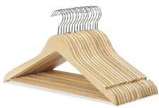 100 x Wooden Hangers Coat Suit Clothes Wardrobe Hanger Skirt Trouser Garment New