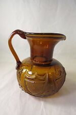 Clevenger Brothers Amber Glass Pitcher Stars & Shields South Jersey Glass