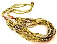 1 Multi Strand Green & Silver Beaded Fashion Necklace - # B13