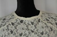 Zara Basic Women's Blouse Size Medium Lace Floral Print Short Sleeve Open Back