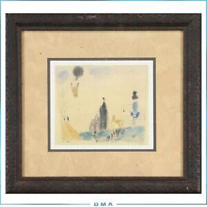 Lyonel Feininger lithograph framed Aufsteigender Ballon 1920 signed in plate