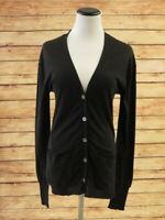 Inhabit Cardigan Black Cotton Size Small V-Neck Sweater